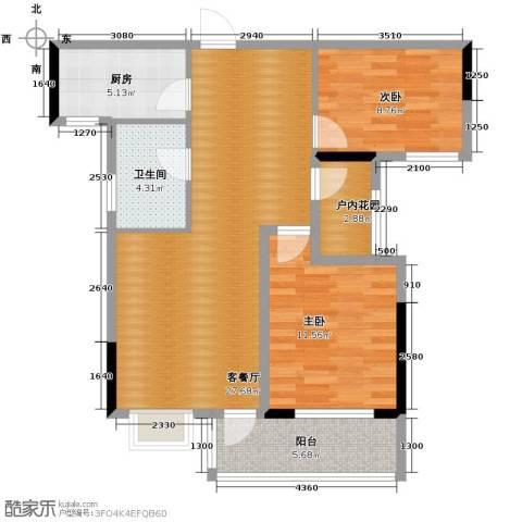 人信太子湾2室1厅1卫1厨88.00㎡户型图