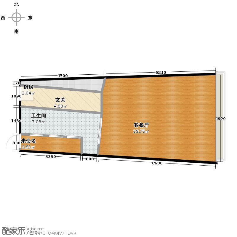 海运国际76.00㎡C2户型1厅1卫1厨