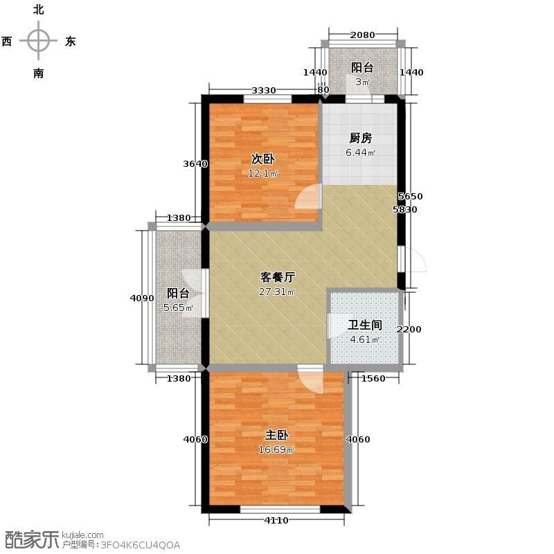 北岸上筑52.35㎡B9户型2室2厅1卫