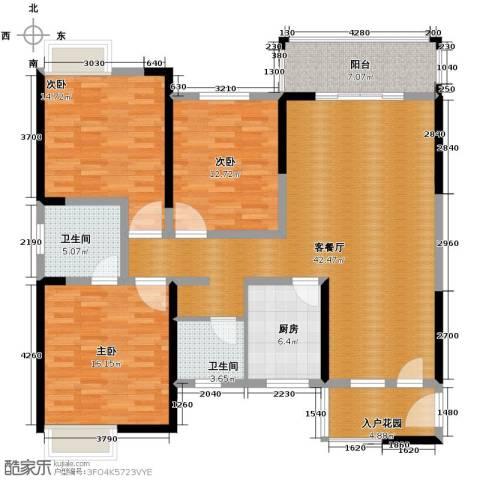 巴比伦花园3室1厅2卫1厨113.13㎡户型图