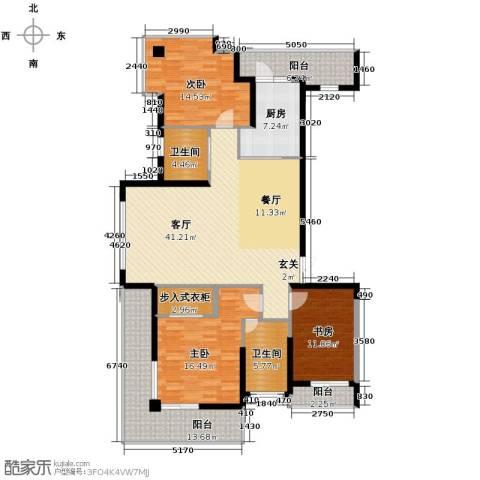 梦琴湾3室1厅2卫1厨151.00㎡户型图