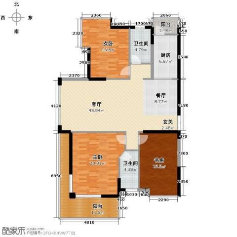 梦琴湾3室1厅2卫1厨138.87㎡户型图