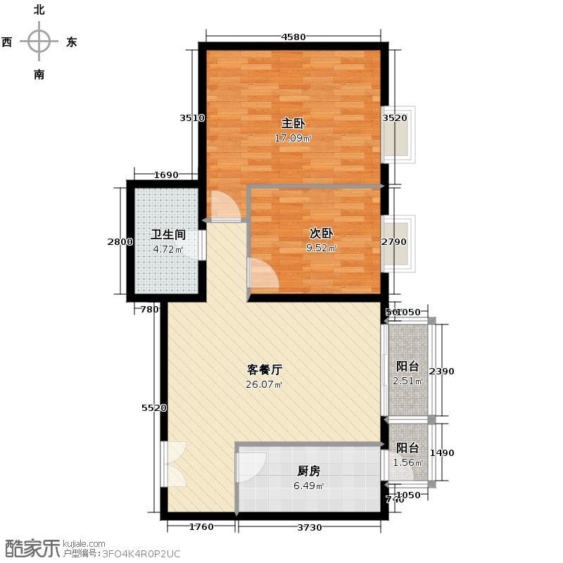 世纪东方城92.55㎡一区3号楼J户型2室1厅1卫1厨