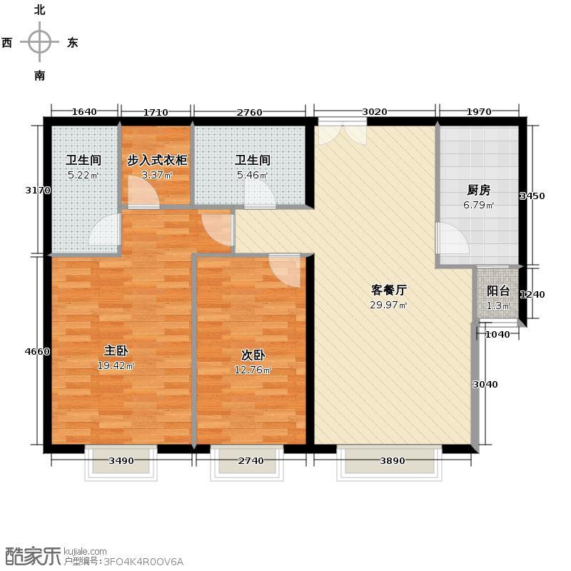 世纪东方城108.00㎡一区3号楼T户型2室1厅2卫1厨