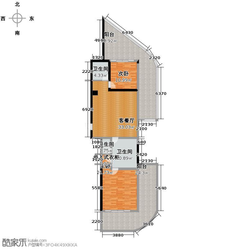 汇锦城148.00㎡海南绿城清水湾酒店公寓I户型2室1厅3卫