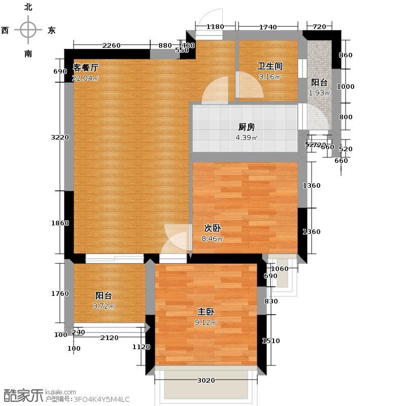 金阳易诚国际70.67㎡二期4号楼标准层B31型户型2室1厅1卫1厨