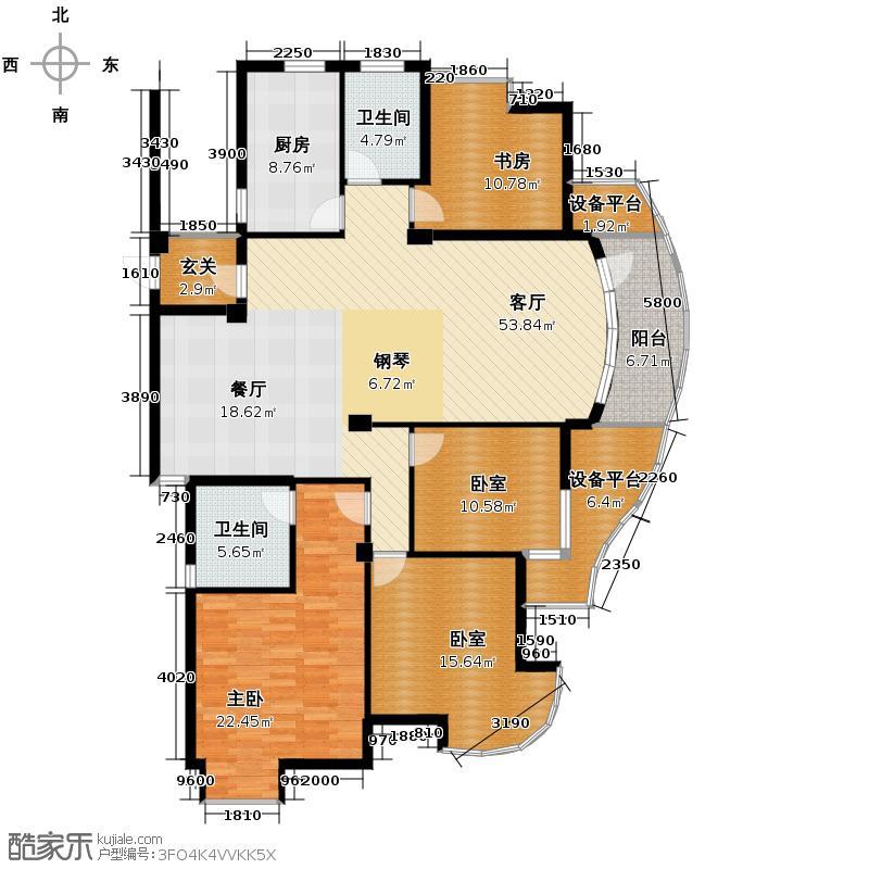 翡翠城168.62㎡梅苑2、4、5号楼C1户型2室1厅2卫1厨