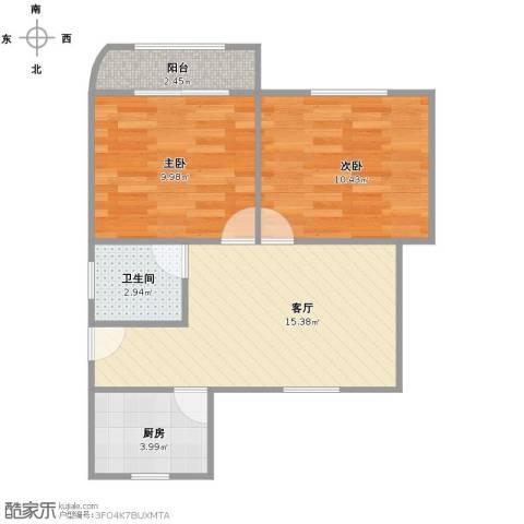 虹梅南路680弄小区2室1厅1卫1厨62.00㎡户型图