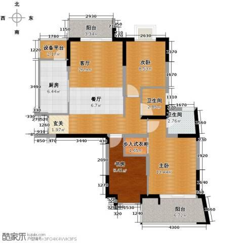 梦琴湾3室1厅2卫1厨128.00㎡户型图