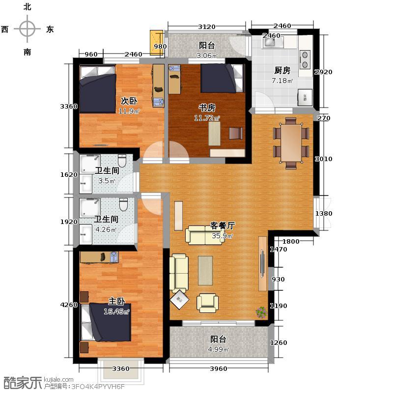 新元绿洲二期132.00㎡B-2-3户型3室1厅2卫1厨