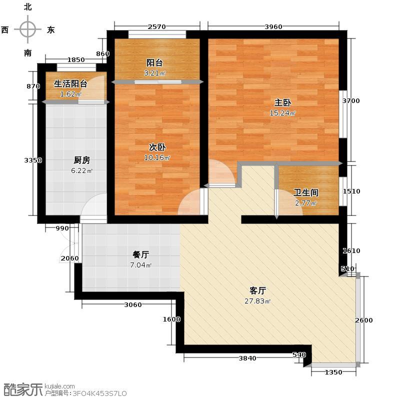 汇锦城93.10㎡和平时光6-K6户型2室1厅1卫1厨