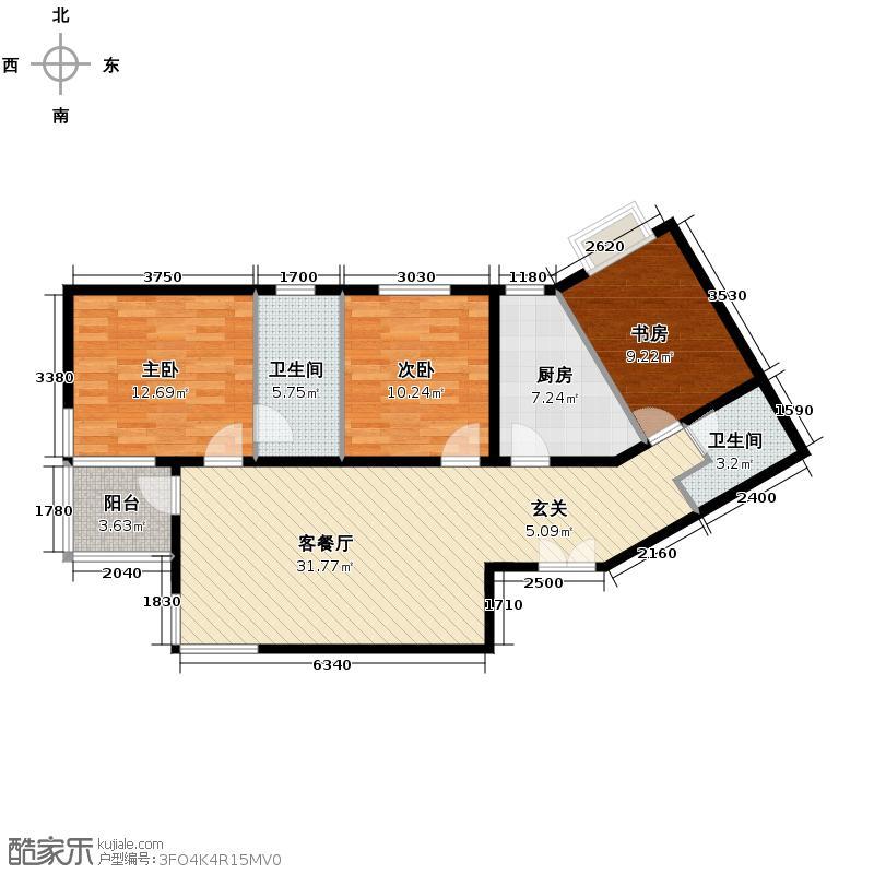 世纪东方城113.79㎡11号楼C(3居)户型3室1厅2卫1厨
