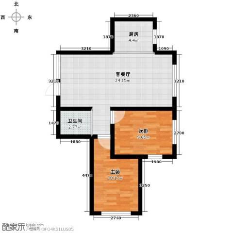 嘉柏湾2室1厅1卫1厨84.00㎡户型图