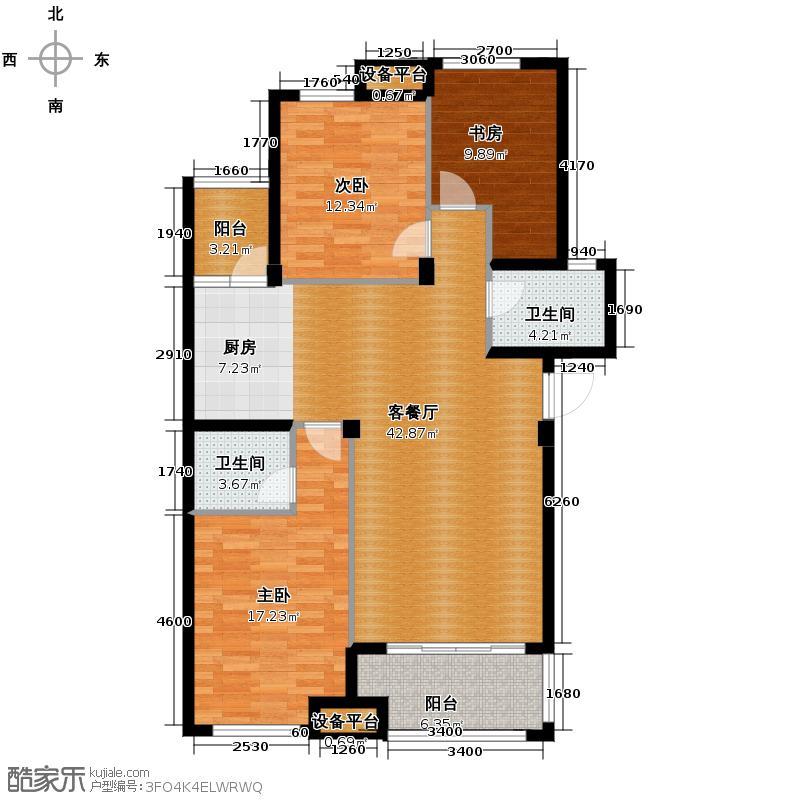 青山鹤岭115.00㎡H户型3室1厅2卫