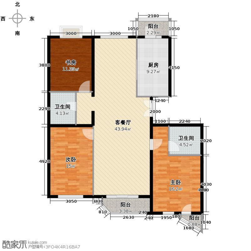 世纪东方城142.07㎡7号楼A(3居)户型3室1厅2卫1厨