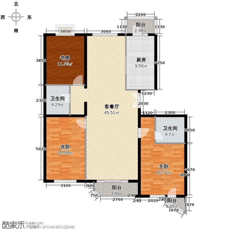世纪东方城142.04㎡7号楼A(3居)户型3室1厅2卫1厨