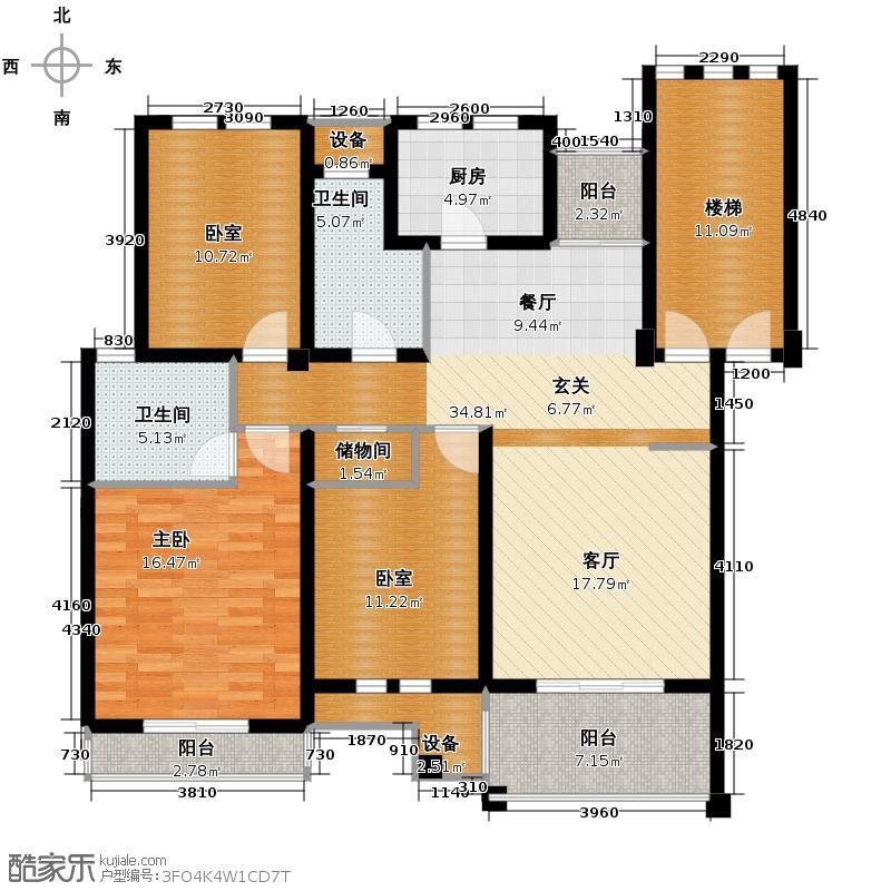 东冠逸家122.00㎡户型1室2卫1厨