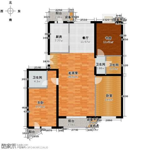 世纪东方城2室0厅2卫1厨129.91㎡户型图