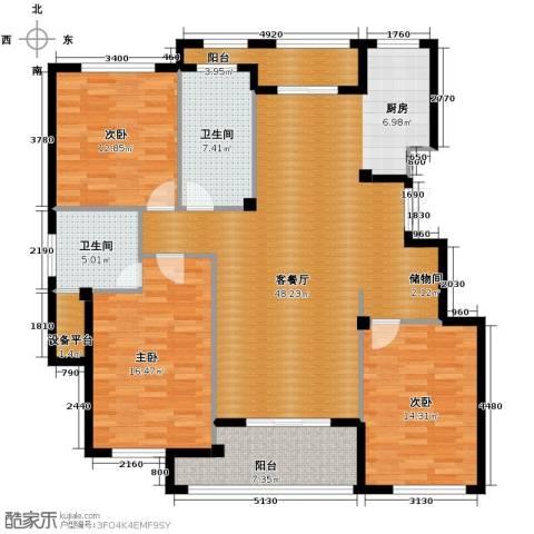 金溪园3室1厅2卫0厨138.00㎡户型图