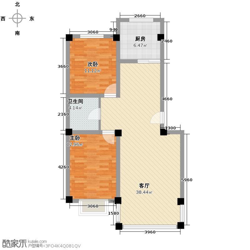 聚金兰庭94.52㎡户型2室1厅1卫1厨