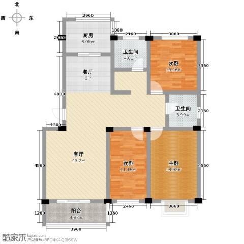 紫竹苑小区3室1厅2卫1厨141.00㎡户型图