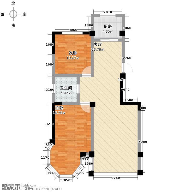 聚金兰庭94.62㎡户型2室1厅1卫1厨