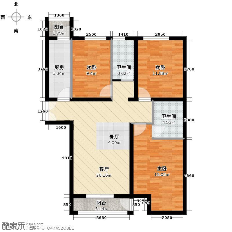 汇锦城93.92㎡中景盛世长安17号楼-C6户型3室1厅2卫1厨