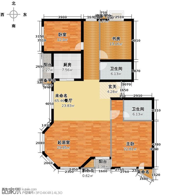 世纪东方城166.32㎡7号楼B(3居)户型2室2卫1厨