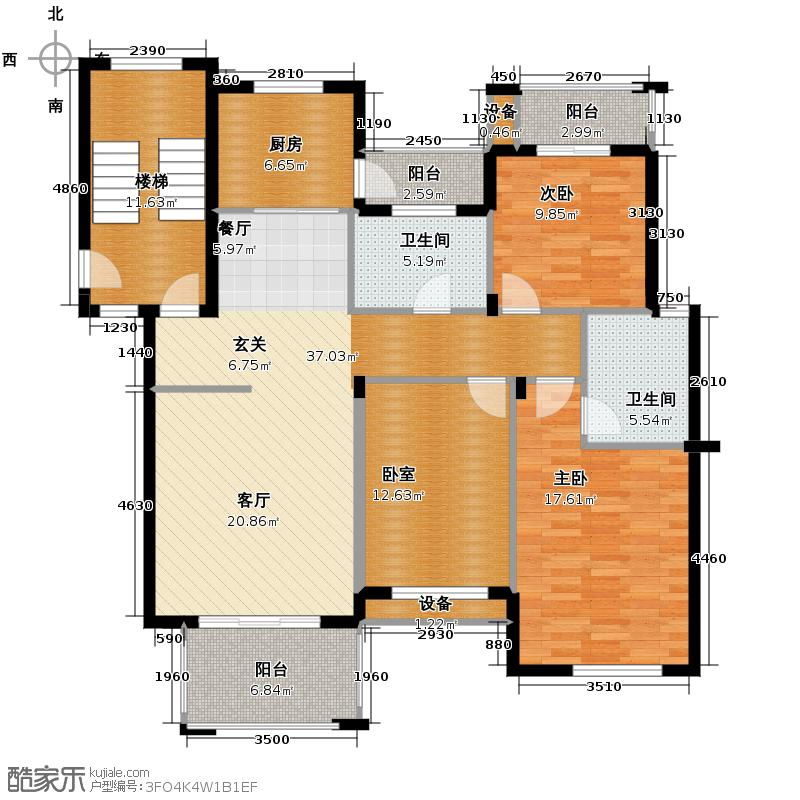 江南摩卡118.90㎡户型2室2卫1厨