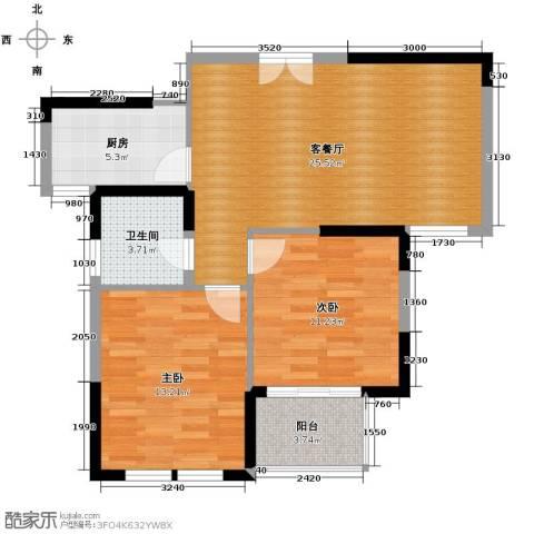长征新村2室1厅1卫1厨88.00㎡户型图