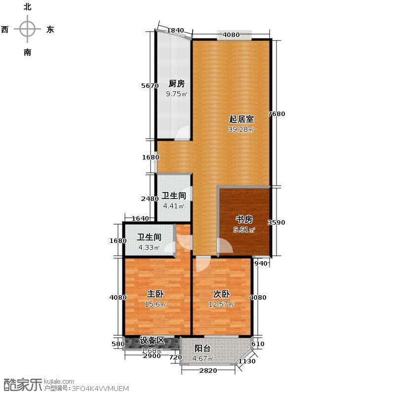 望江公寓238.60㎡户型3室2卫1厨
