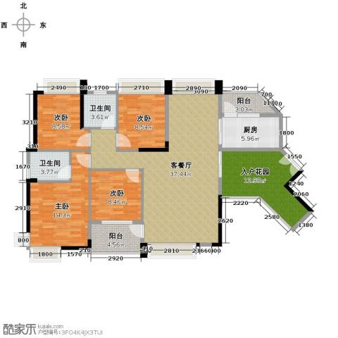 中惠金士柏山4室1厅2卫1厨155.00㎡户型图