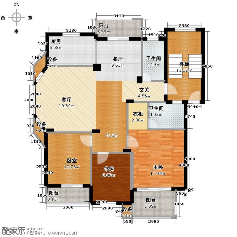江南摩卡124.50㎡户型2室2卫1厨