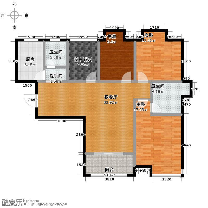 盛景融城115.62㎡+空中花园户型3室1厅2卫1厨
