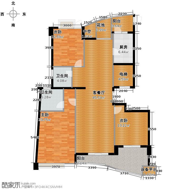 金马名仕园158.00㎡户型3室1厅2卫1厨
