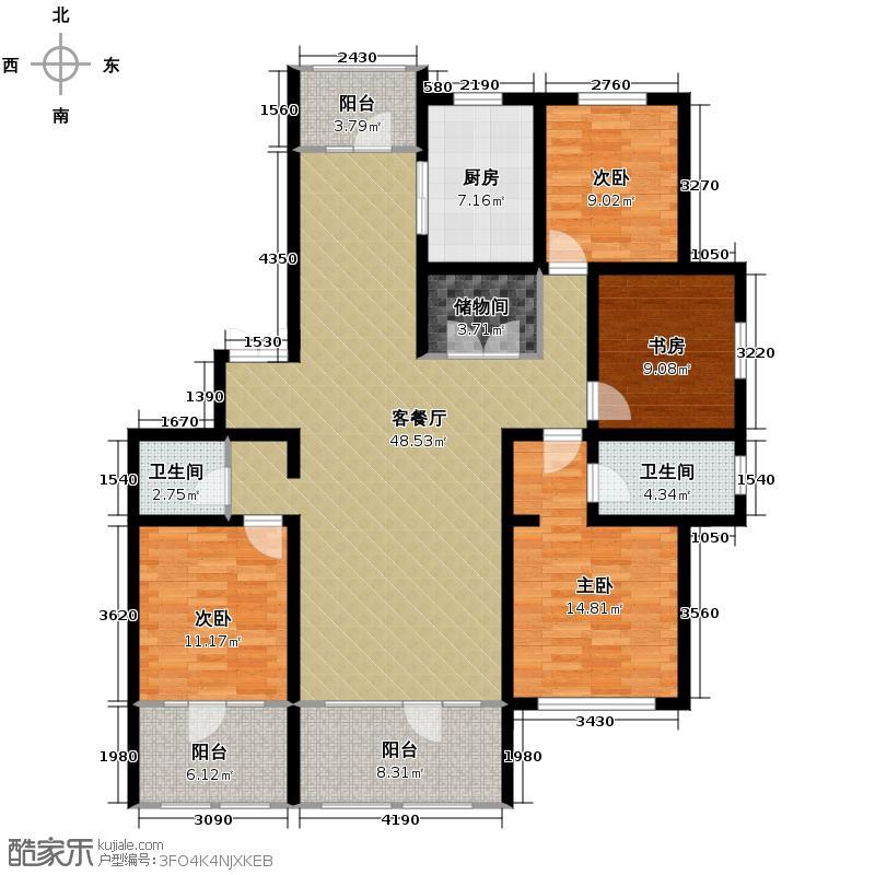 群力玫瑰湾111.80㎡D03-D06户型4室1厅2卫1厨