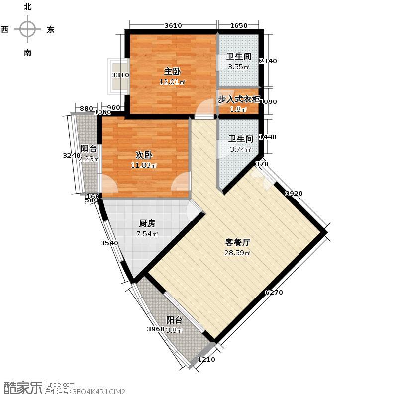 世纪东方城84.32㎡2区3#5单元K户型2室1厅2卫1厨