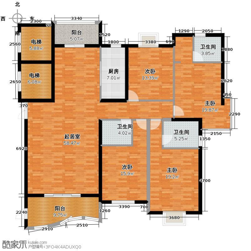 汇锦城181.75㎡D户型4室3卫1厨