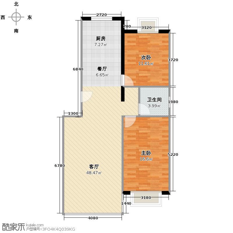 三汇沁园101.27㎡2、21号楼B户型2室1厅1卫