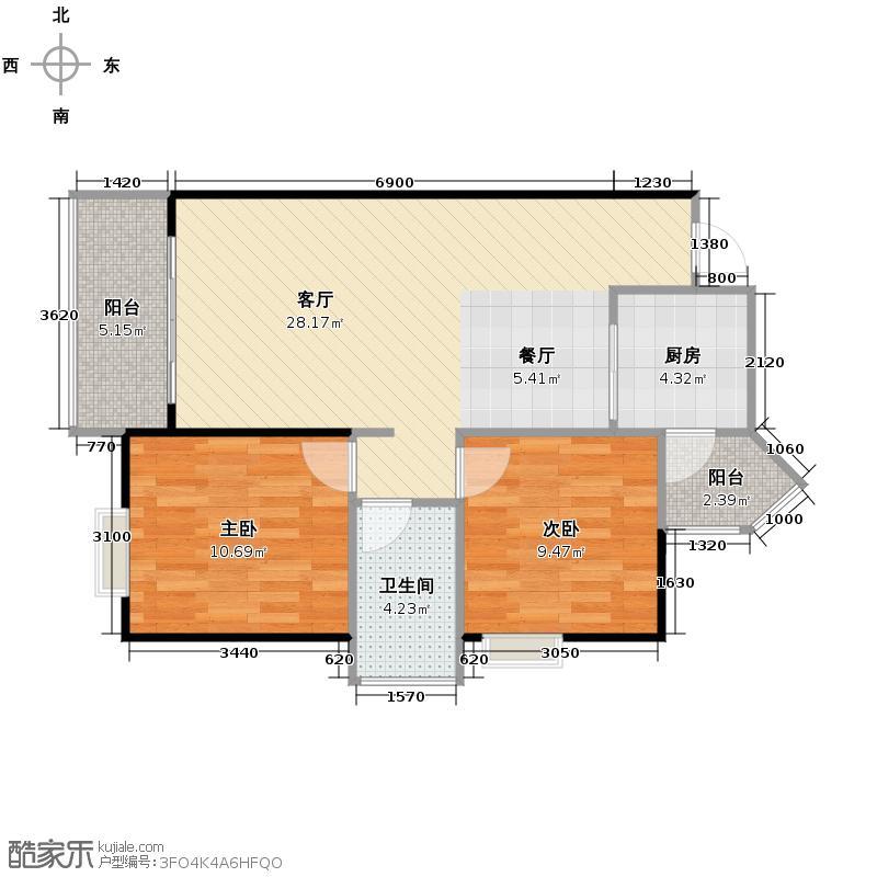 虹祥花郡78.75㎡C5#-C户型2室1厅1卫1厨