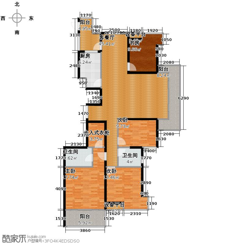 万都晶典公寓159.96㎡A2豪华复式户型4室1厅2卫1厨