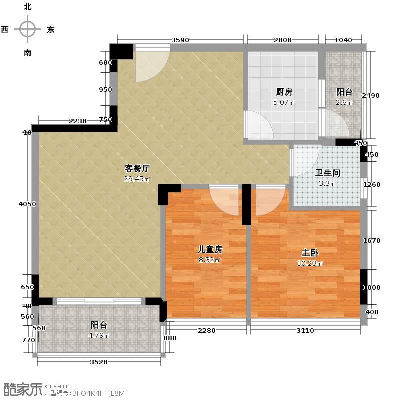 中信凯旋城二期173.00㎡户型2室1厅1卫1厨