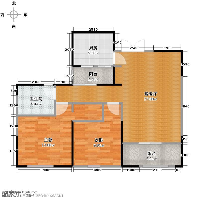 桐梓林欧城85.00㎡十栋D型标准层户型2室1厅1卫1厨