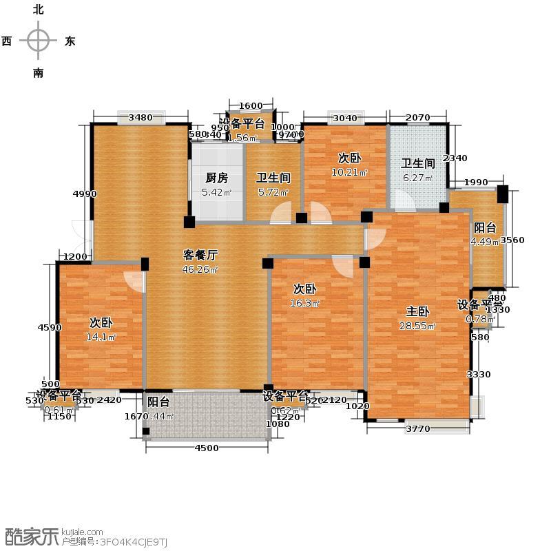 竹海水韵别墅159.94㎡户型4室1厅2卫1厨