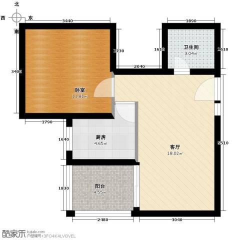 雅逸新城1厅1卫1厨59.00㎡户型图