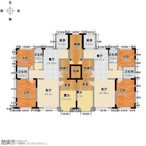 西湖一号3室4厅2卫0厨226.63㎡户型图