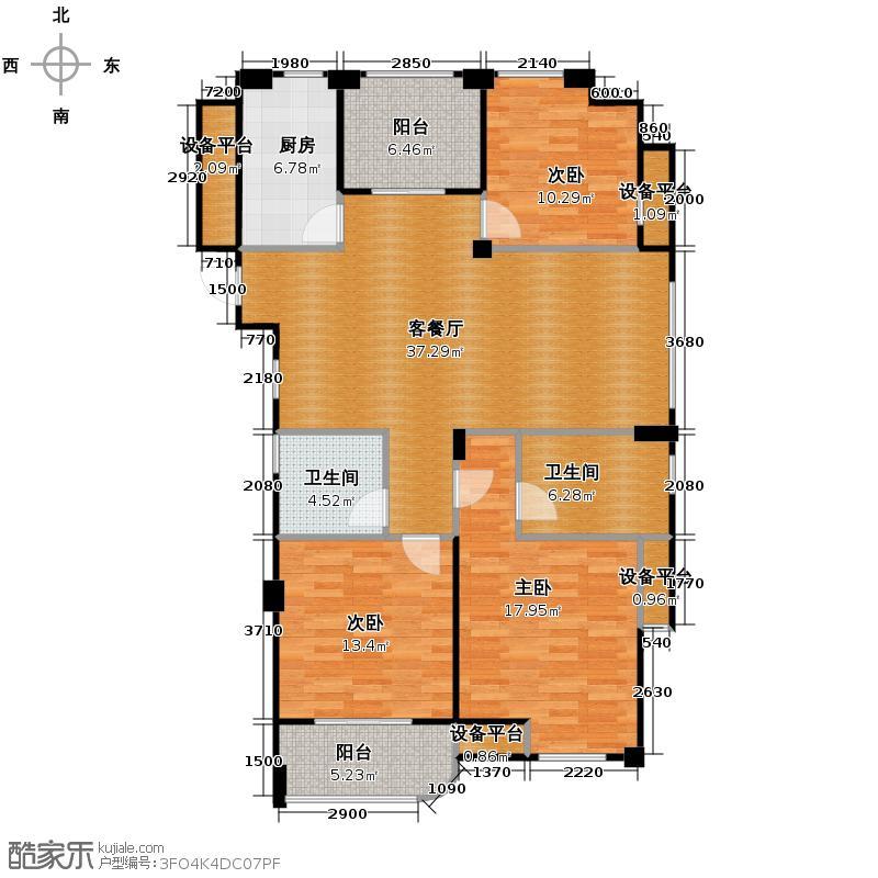 运河玲珑香榭南苑128.00㎡A户型3室1厅2卫1厨