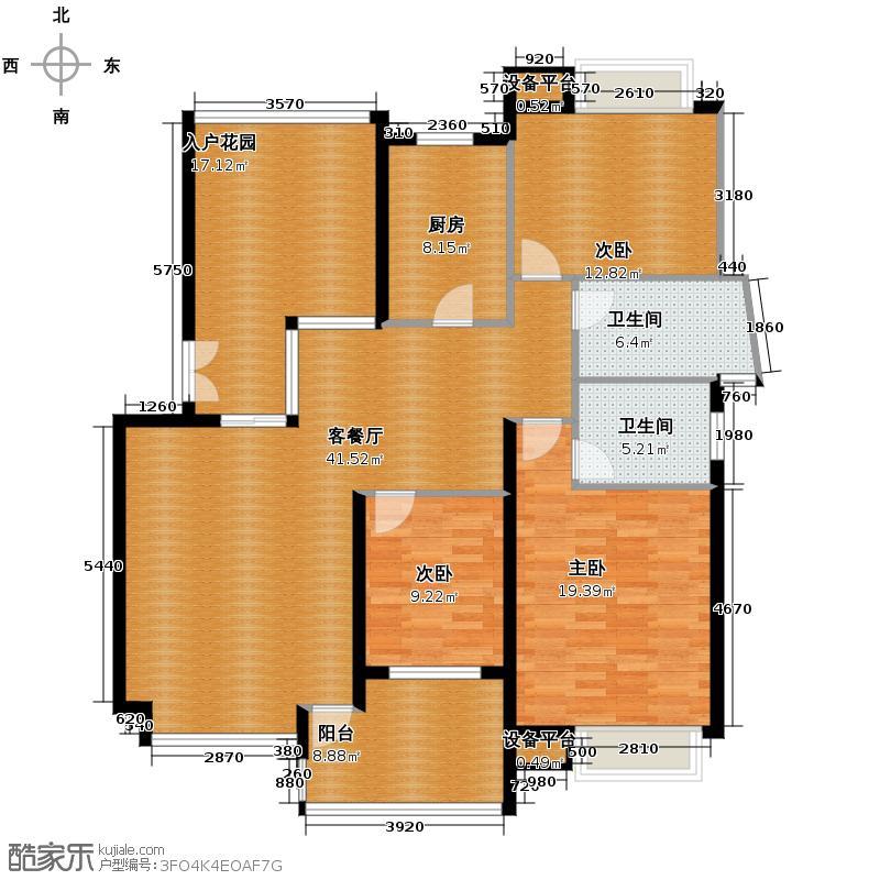 萧宏普罗旺斯144.69㎡户型3室1厅2卫1厨
