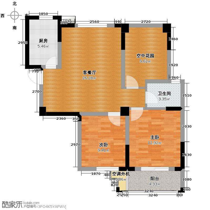 宝翠园88.58㎡加空中花园户型2室2厅1卫