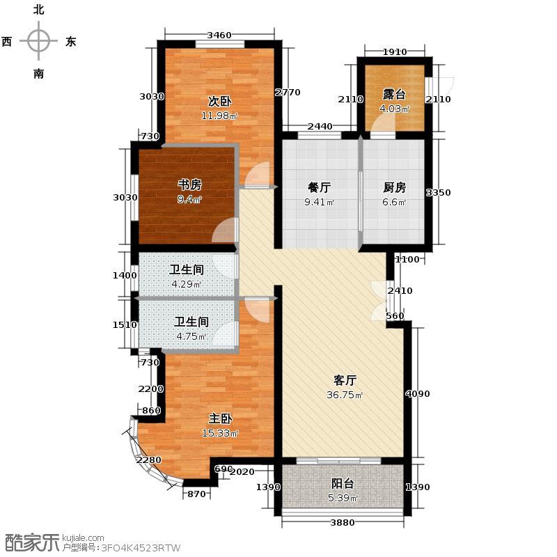 汇锦城143.00㎡中景盛世长安C4/标准层户型3室1厅2卫1厨